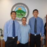 Council Member Danny Mateo with students Maka and Kai