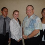 Council Member Don Couch with students Jonah, Kianna and Ohu