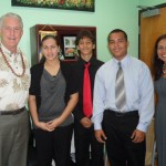 Council Member Mike White with students Kamalei, Connor and Chaz and Executive Director Pualani Enos