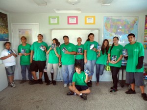 Hui Malama students with dictionaries donated by Rotary Club of Maui