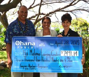 Kimo Haynes, President of Hawaii Petroleum Inc., Pualani Enos, Executive Director of Hui Malama Learning Center, Laura Alfonso, Marketing Representative Hawaii Petroleum Inc. / Hawaii Fueling Network
